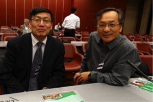 Prof. SHI Peijun and Prof. YE Qian on the venue of the UNISDR Science and Technology Conference